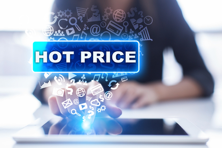 work less: Woman is using tablet pc, pressing on virtual screen and selecting hot price. Stock Photo