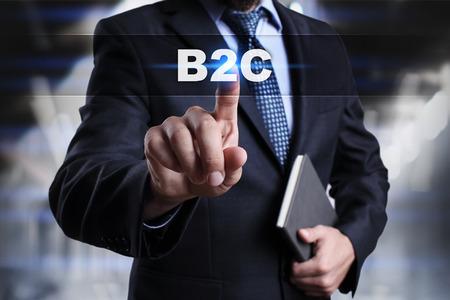ビジネスマンは、タッチ画面のインターフェイスのボタンを押して、b2c を選択します。