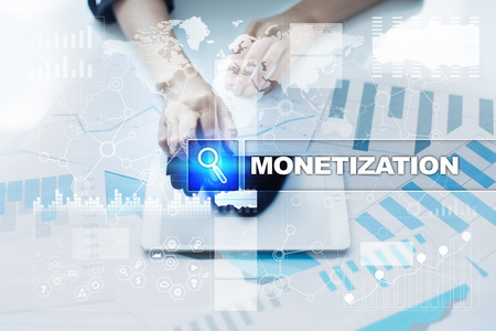 Woman working with documents, tablet pc and selecting monetization. Stock Photo