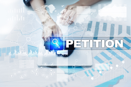 Woman working with documents, tablet pc and selecting petition.