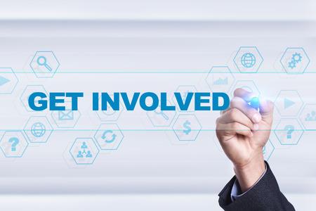 Businessman drawing on virtual screen. get involved concept. Banco de Imagens - 73649661