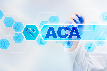 Medical doctor drawing aca on the virtual screen. Stock Photo
