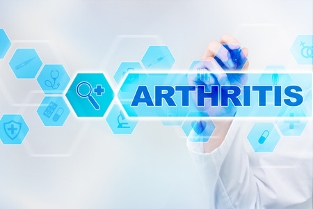 Medical doctor drawing arthritis on the virtual screen.