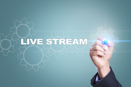 live stream radio: Businessman drawing on virtual screen. live stream concept. Stock Photo
