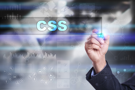css: Businessman is drawing on virtual screen. css concept.