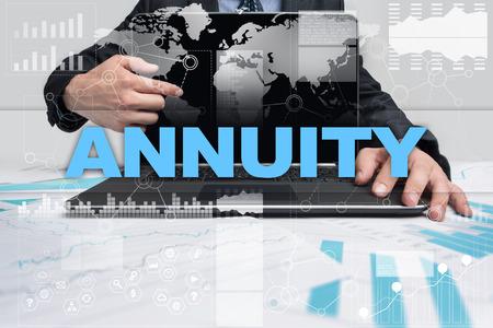 Businessman presenting annuity concept. Stock fotó