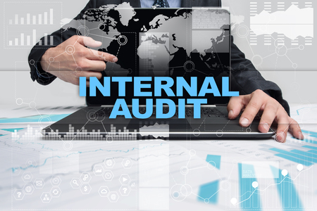 Businessman presenting internal audit concept.