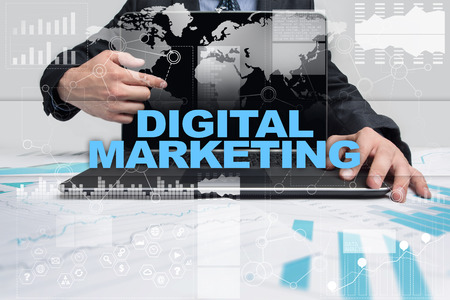 digital marketing: Businessman presenting digital marketing concept.