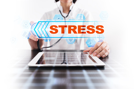 reduce risk: Medical doctor using tablet PC with stress medical concept.