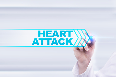 Medical doctor drawing heart attack on the virtual screen. Stock Photo