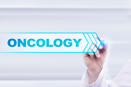 cytology: Medical doctor drawing oncology on the virtual screen.