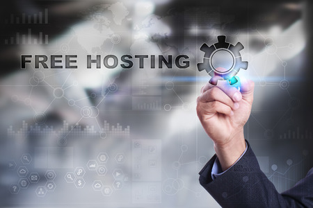 domains: Businessman is drawing on virtual screen. free hosting concept.
