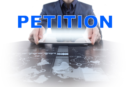 Businessman working with modern tablet PC and presenting petition concept.