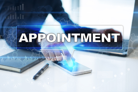 doctor appointment: Businessman working in office, pressing button on virtual screen and selecting appointment.