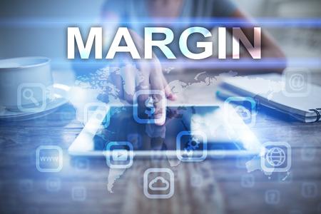 marginal: Woman using tablet pc, pressing on virtual screen and selecting margin.