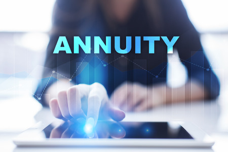 Woman using tablet pc and selecting annuity. Stock Photo