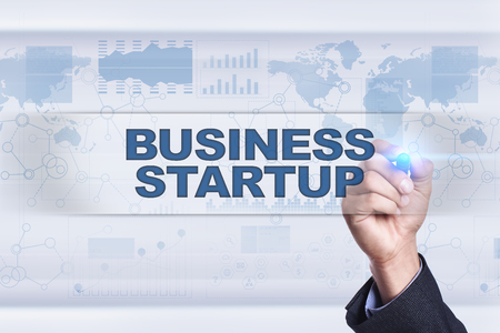 investor: Businessman drawing on virtual screen. business startup concept. Stock Photo