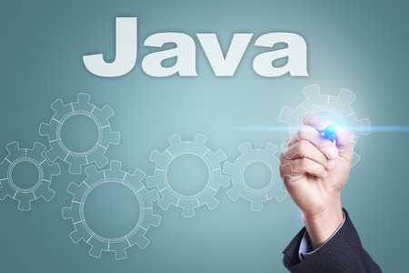 css: Businessman drawing on virtual screen. java concept. Stock Photo