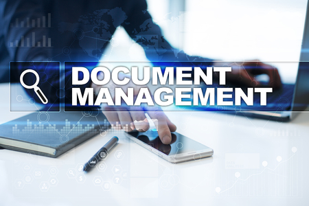 paperless: Businessman working in office, pressing button on virtual screen and selecting document management.