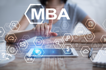 Woman using tablet pc, pressing on virtual screen and selecting mba.