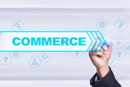 e commerce: Businessman drawing on virtual screen. commerce concept. Stock Photo