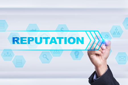 reputable: Businessman drawing on virtual screen. reputation concept. Stock Photo