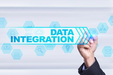 Businessman drawing on virtual screen. data integration concept. Stock Photo