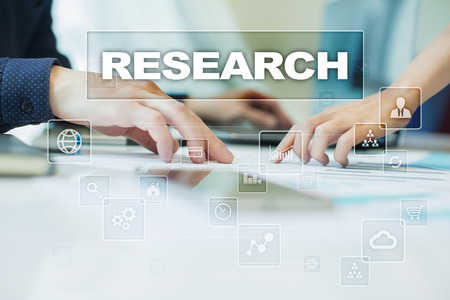 virtual assistant: research on virtual screen. Business, technology and internet concept. Stock Photo