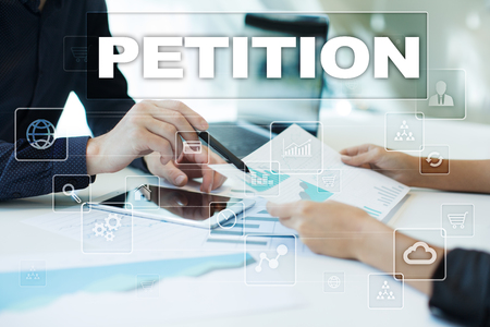 petition on virtual screen. Business, technology and internet concept.