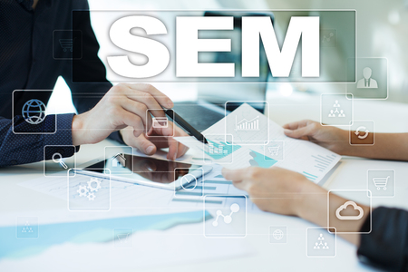 adwords: sem on virtual screen. Business, technology and internet concept. Stock Photo