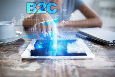 cpa: Woman using tablet pc, pressing on virtual screen and selecting b2c.