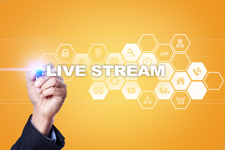 livestream: Businessman drawing on virtual screen. live stream concept. Stock Photo