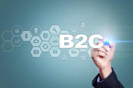 Businessman drawing on virtual screen. b2c concept.