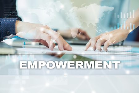 enabling: empowerment on virtual screen. Business, technology and internet concept.