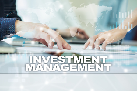 property management: investment management on virtual screen. Business, technology and internet concept.