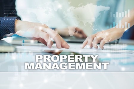 property management: property management on virtual screen. Business, technology and internet concept.