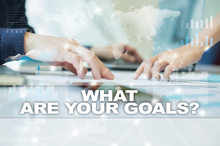 what are your goals on virtual screen. Business, technology and internet concept.