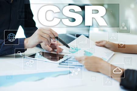 csr on virtual screen. Business, technology and internet concept. Stock Photo