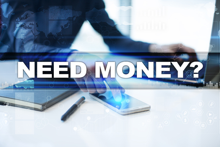 e commerce icon: Businessman working in office, pressing button on virtual screen and selecting need money. Stock Photo