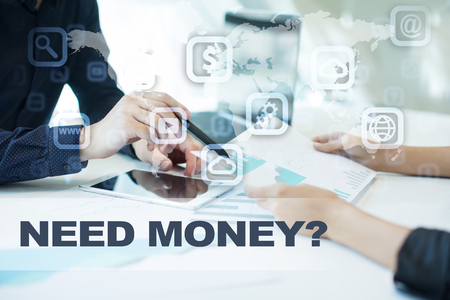 e commerce icon: need money on virtual screen. Business, technology and internet concept. Stock Photo