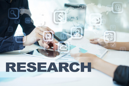 e commerce icon: research on virtual screen. Business, technology and internet concept. Stock Photo