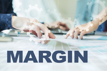 marginal: margin on virtual screen. Business, technology and internet concept.