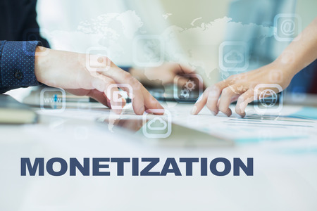 monetization on virtual screen. Business, technology and internet concept. Stock Photo