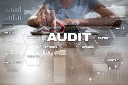 validation: Audit business concept. Auditor. Compliance. Virtual screen technology. Stock Photo