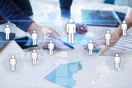 Human resource management, HR, werving, leiderschap en teambuilding. Bedrijfs en technologieconcept. Stockfoto