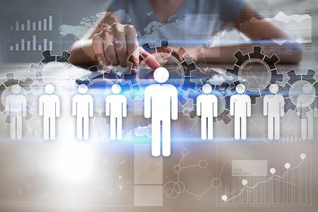 Human Resources Management, HR, werving, leiderschap en teambuilding. Bedrijfs- en technologieconcept.