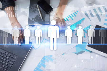 teambuilding: Human resource management, HR, recruitment, leadership and teambuilding. Business and technology concept. Stock Photo
