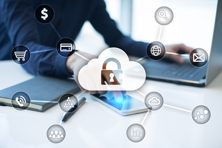 cyber defence: Cyber security, Data protection, information safety and encryption. internet technology and business concept.  Virtual screen with padlock icons.