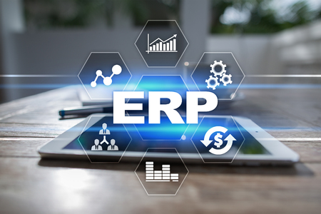 Enterprise resources planning business and technology concept. Фото со стока