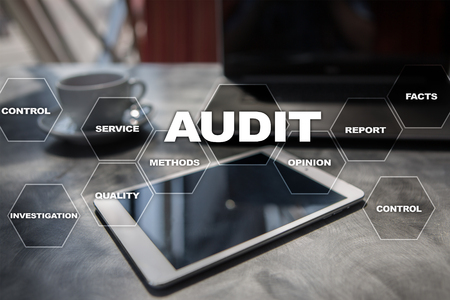 Audit business concept. Auditor. Compliance. Virtual screen technology. Imagens